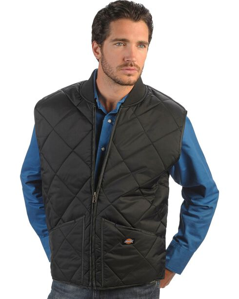 Dickie's Men's Quilted Nylon Vest, Black, hi-res