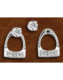 Kelly Herd Sterling Silver Small Rhinestone Stirrup Earrings, , hi-res