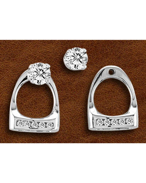 Kelly Herd Sterling Silver Small Rhinestone Stirrup Earrings, Silver, hi-res