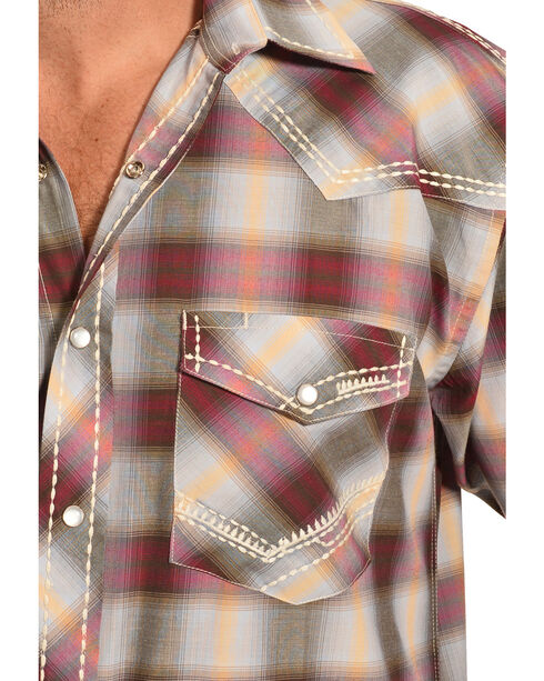 Crazy Cowboy Men's Red Ombre Plaid Snap Shirt, Navy, hi-res