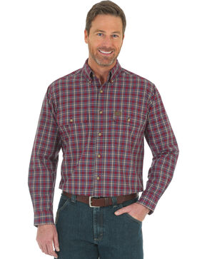 Wrangler Men's Burgundy Riggs Workwear Foreman Work Shirt , Burgundy, hi-res