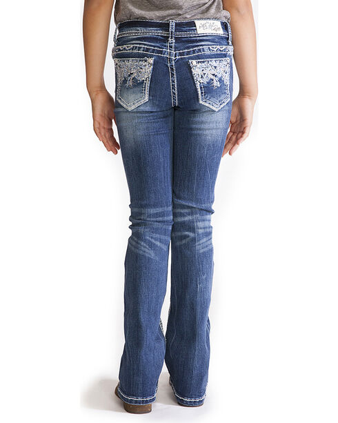Grace in LA Girls' Indigo Faux Flap Pocket Jeans - Boot Cut , Indigo, hi-res