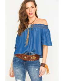 Glam Women's Indigo Smocked Off The Shoulder Top , , hi-res