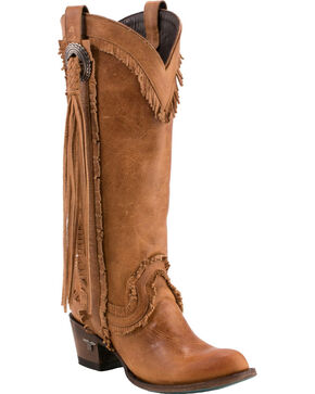 Lane Women's Sierra Fringe Round Toe Western Boots, Tan, hi-res