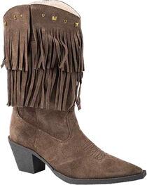 Roper Women's Suede Fringe Short Stuff Western Boots, , hi-res