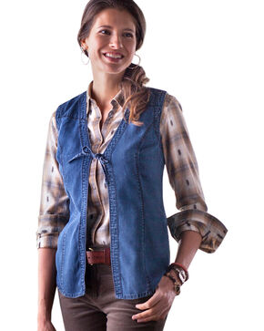 Ryan Michael Sienna Tie Front Vest, Denim, hi-res