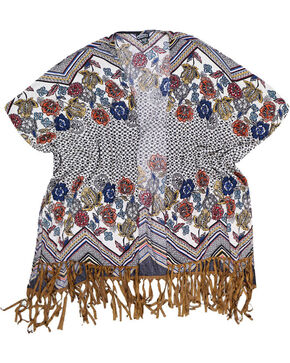Angie Women's Floral Fringe Trimmed Kimono, Natural, hi-res
