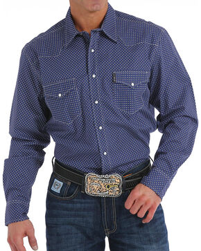 Cinch Men's Modern Fit Navy Print Long Sleeve Western Shirt, Navy, hi-res