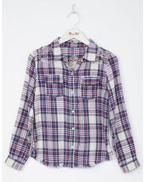 Miss Me Girls' Floral Fun Long Sleeve Plaid Shirt, , hi-res