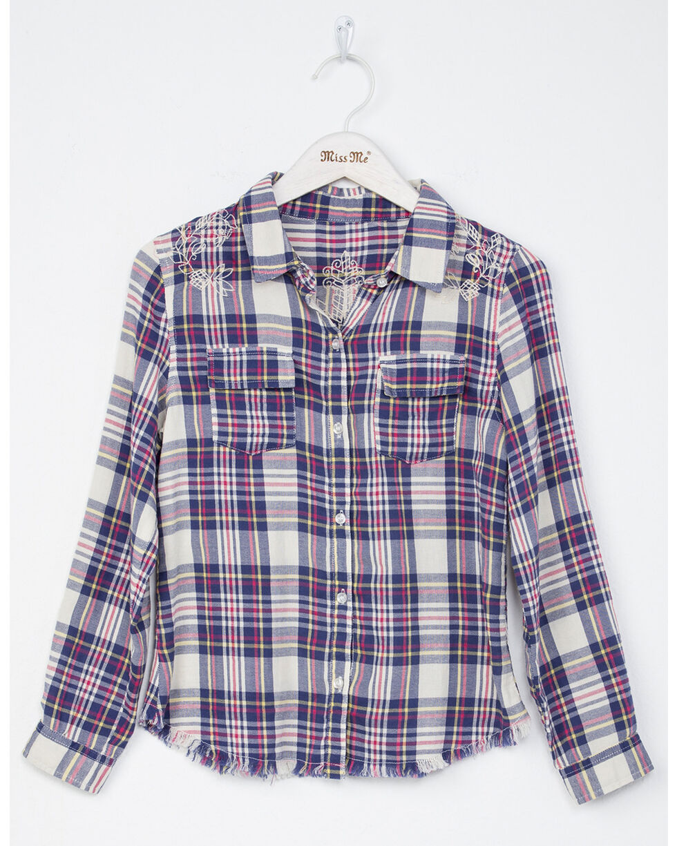 Miss Me Girls' Floral Fun Plaid Long Sleeve Shirt, Natural, hi-res