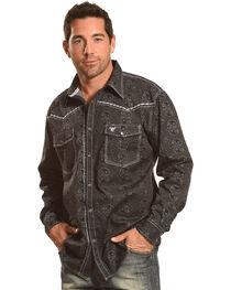 Cowboy Hardware Men's Black Barbed Paisley Print Shirt , , hi-res