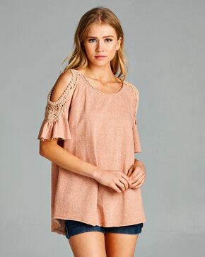 Hyku Women's Pink Crochet Lace Cold Shoulder Shirt , Pink, hi-res