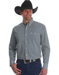 Wrangler Classics Men's Brown/Blue Print Long Sleeve Button Down Shirt, , hi-res