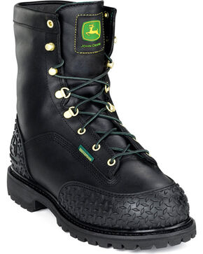 "John Deere® Men's 9"" Insulated Miner Work Boots, Black, hi-res"
