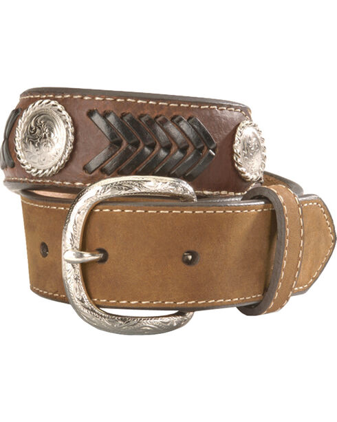 Nocona Kids' Ribbon Overlay & Laced Belt - 18-28, Brown, hi-res
