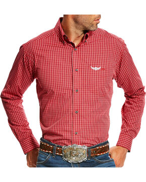 Ariat Men's Red Swift Print Long Sleeve Shirt , Red, hi-res