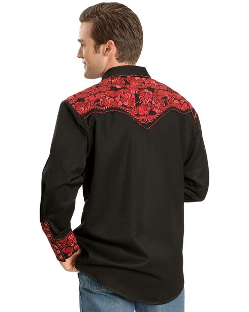 Scully Crimson Floral Embroidery Retro Western Shirt - Big & Tall, Crimson, hi-res