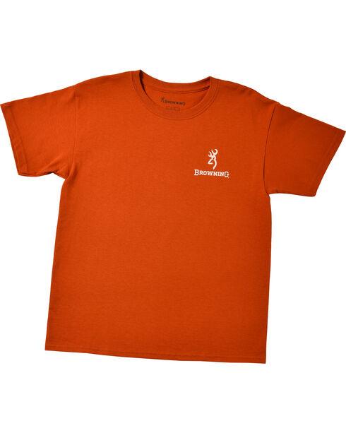 Browning Youth Boys' Orange Realtree Buckmark T-Shirt , Orange, hi-res