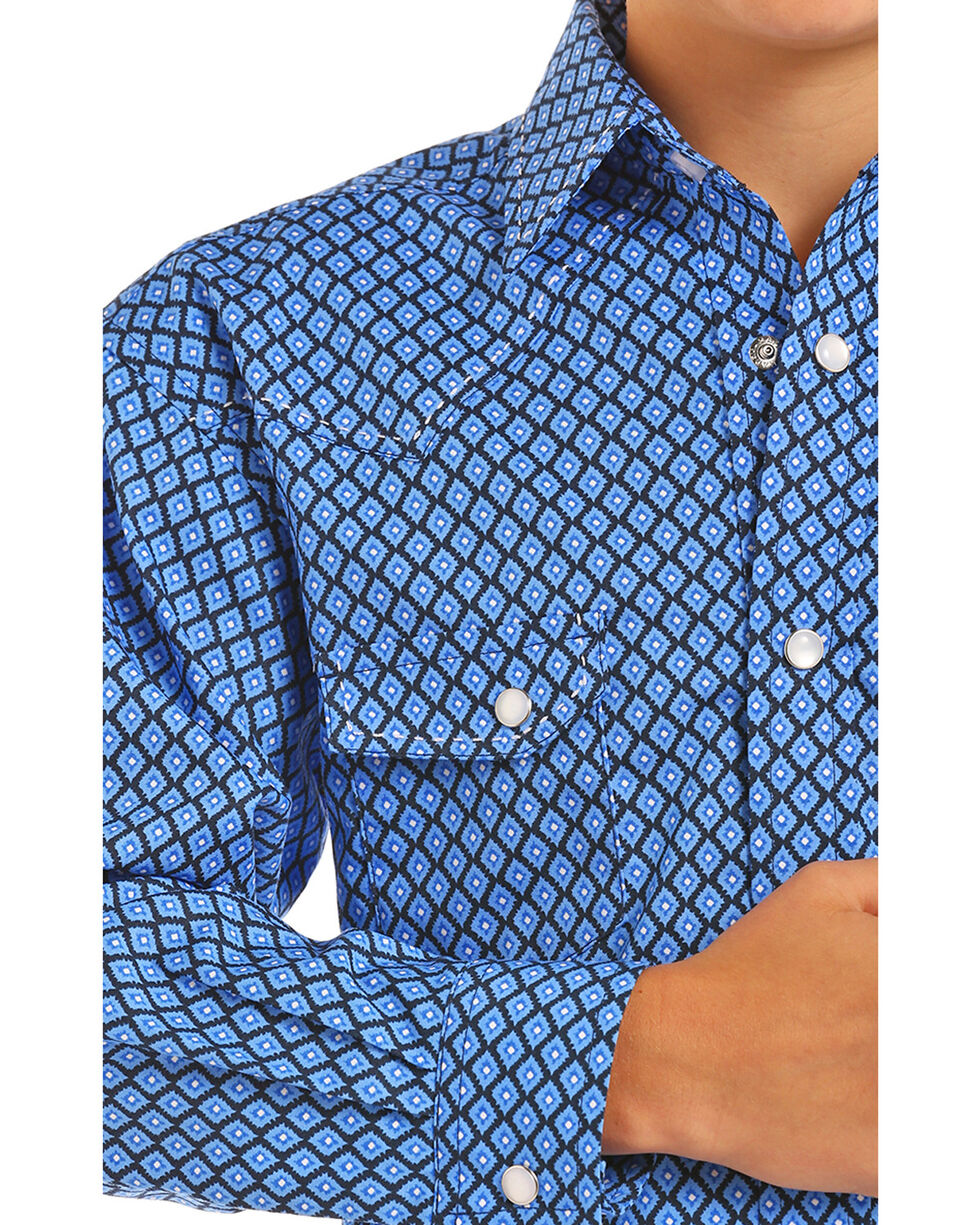Rock & Roll Cowboy Boys' Diamond Print Long Sleeve Snap Shirt, Royal Blue, hi-res