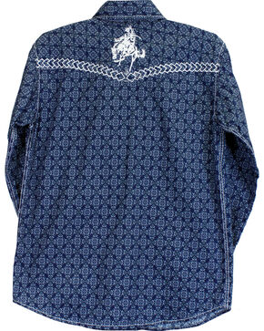 Cowboy Hardware Boys' Town Square Bucking Bronc Long Sleeve Print Shirt, Grey, hi-res