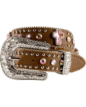 Nocona Kid's Crystal Cross Belt, Brown, hi-res