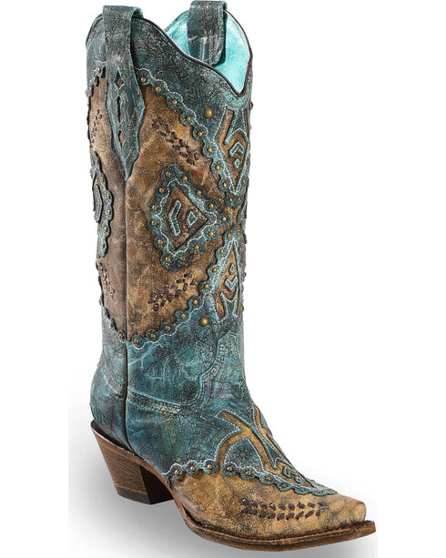 Corral Women's Turquoise Cowhide Inlay Cowgirl Boots - Snip Toe , Turquoise, hi-res