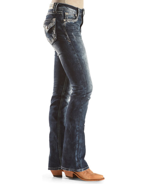 Grace in LA Women's Medium Blue Floral Pocket Jeans - Boot Cut , Medium Blue, hi-res