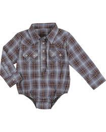 Wrangler Infant Boys' Plaid Long Sleeve Onesie, , hi-res