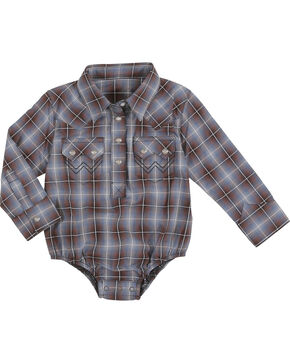 Wrangler Infant Boys' Plaid Long Sleeve Onesie, Brown, hi-res