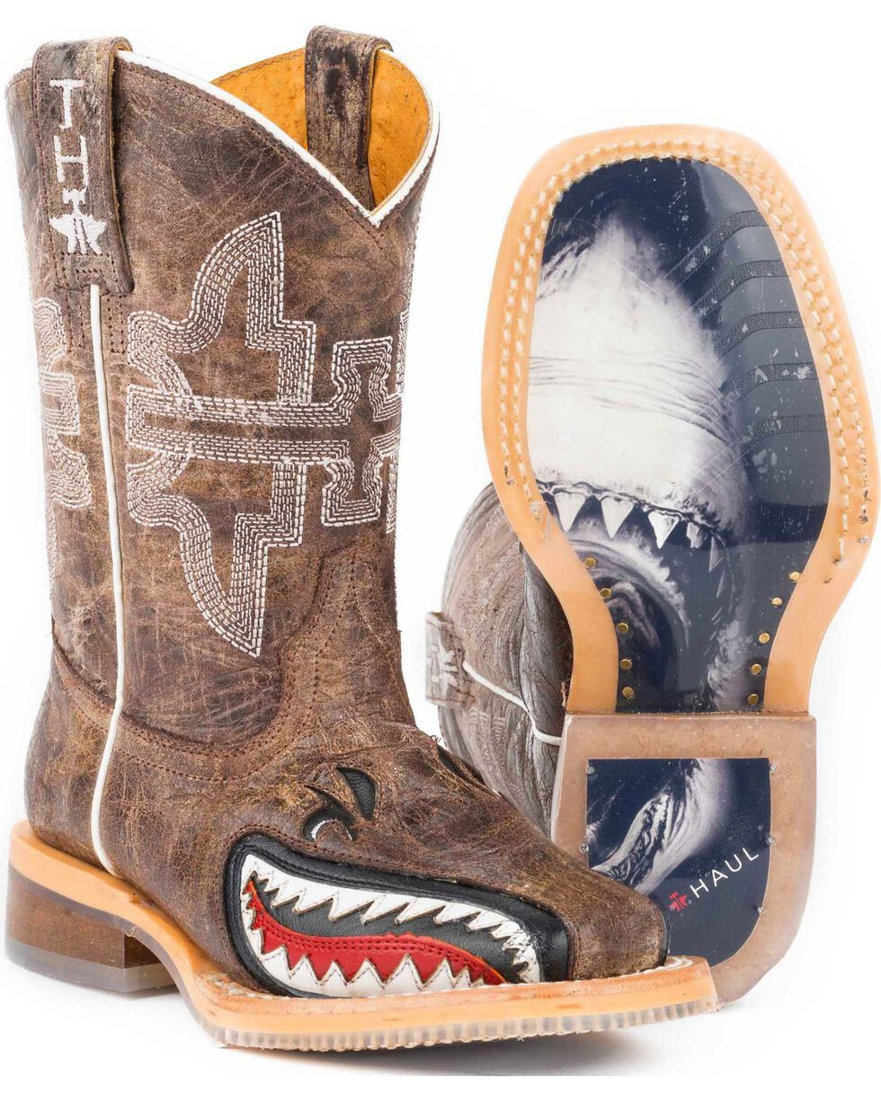 """Tin Haul Boys' Tan and Red 8"""" Leather Western Boots - Square Toe , , hi-res"""