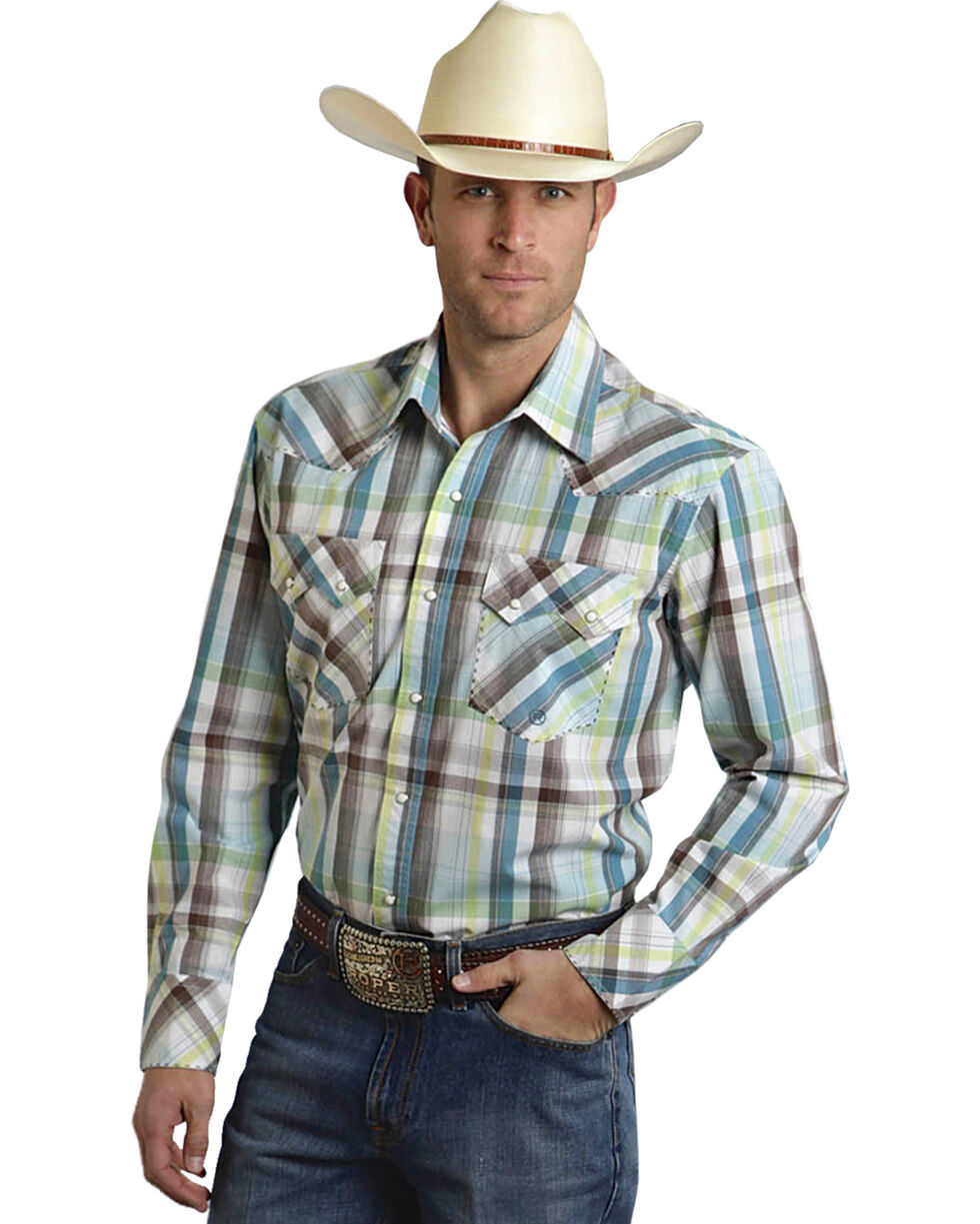 Roper Men's Amarillo Collection Blue & Brown Plaid Snap Long Sleeve Shirt, , hi-res