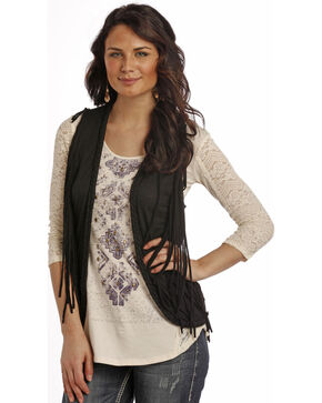Rock & Roll Cowgirl Black Fringe Open Front Vest, Black, hi-res