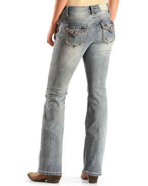 Shyanne® Women's Anne Mid-Rise Boot Cut Jeans , Blue, hi-res