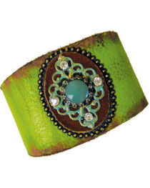 Cowgirl Confetti Leather with Patina Medallion Cuff, , hi-res