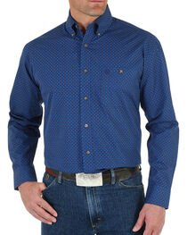 Wrangler George Strait Men's Blue Geometric Print Long Sleeve Shirt - Big & Tall, , hi-res