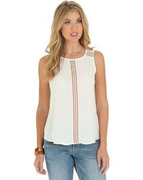Wrangler Women's Sleeveless Embroidered Tape Shirt, , hi-res