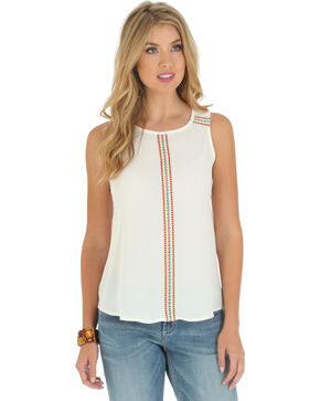 Wrangler Women's Sleeveless Embroidered Tape Shirt, Vanilla, hi-res