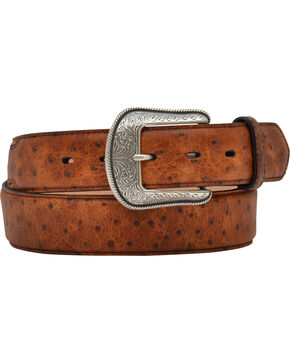 3D Belt Co Men's Ostrich Print Belt, Tan, hi-res