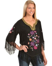 Ariat Lou Challis Embroidered Fringe Top, , hi-res