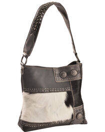 Trinity Ranch Women's Black Patchwork Concealed Carry Hobo Bag, , hi-res