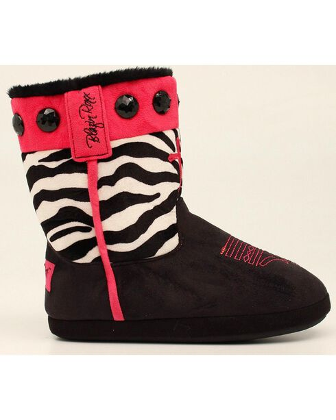 Blazin Roxx Women's Zebra Print Cowgirl Slipper Booties, Black, hi-res