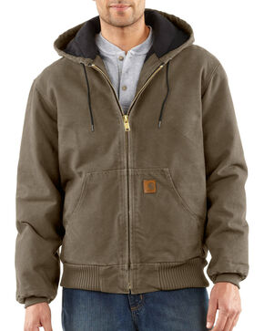 Carhartt Men's Sandstone Active Quilted Flannel Lined Jacket, Mushroom, hi-res