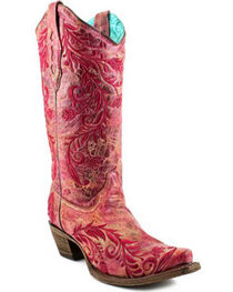 Corral Women's Red Embroidered Crackle Cowgirl Boots - Snip Toe , , hi-res