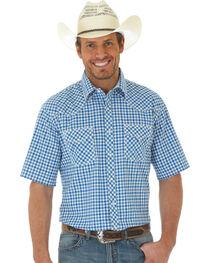 Wrangler 20X Men's Blue Short Sleeve Plaid 2 Pocket Snap Button Shirt, , hi-res