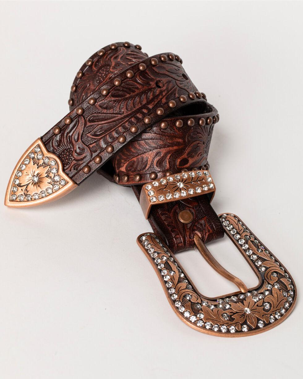 Shyanne® Women's Leather Bling Belt, Bronze, hi-res