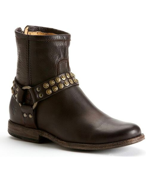Frye Women's Phillip Studded Harness Boots, Dark Brown, hi-res