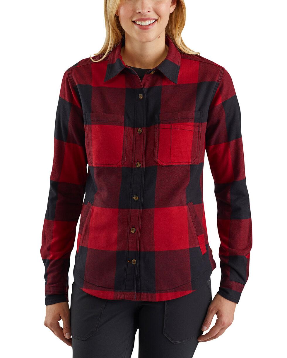 Carhartt Women's Rugged Flex Hamilton Fleece-Lined Shirt, Dark Red, hi-res
