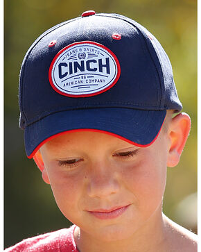 Cinch Boys' Navy Mid Pro Logo Patch Baseball Cap , Navy, hi-res