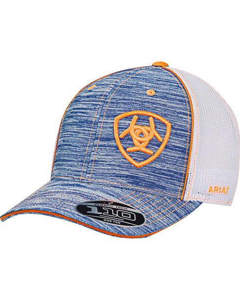 Ariat Men's Blue Heather Striped Baseball Cap , Blue, hi-res