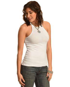 Aveto Women's Basic High Neck Tank , White, hi-res
